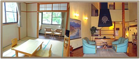 草津 マウンテンビューロッジ ロッジ客室とロビー